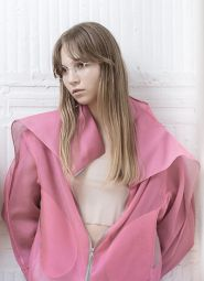 sheer organza bomber jacket-PINK/GREY
