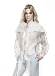 SHEER ORGANZA BOMBER JACKET-WHITE/GREY